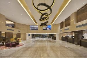 Inside a Holiday Inn hotel